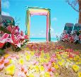 Trang trí cổng hoa cưới bằng vải voan và lụa tuyệt đẹp