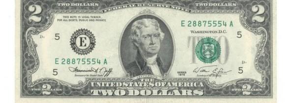 Tờ 2 USD may mắn có thể là món quà tặng khách mời ý nghĩa