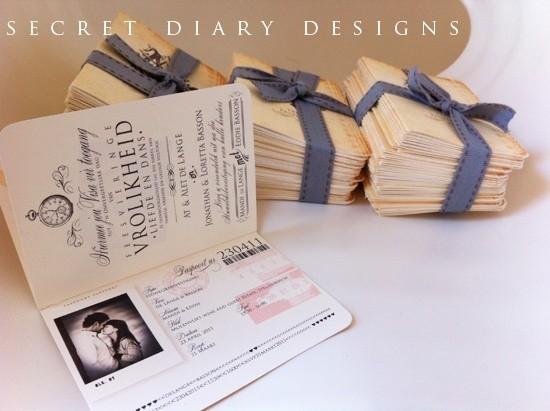 Thiệp cưới với hình dáng của tấm passport sẽ phù hợp cho các cặp đôi yêu du lịch